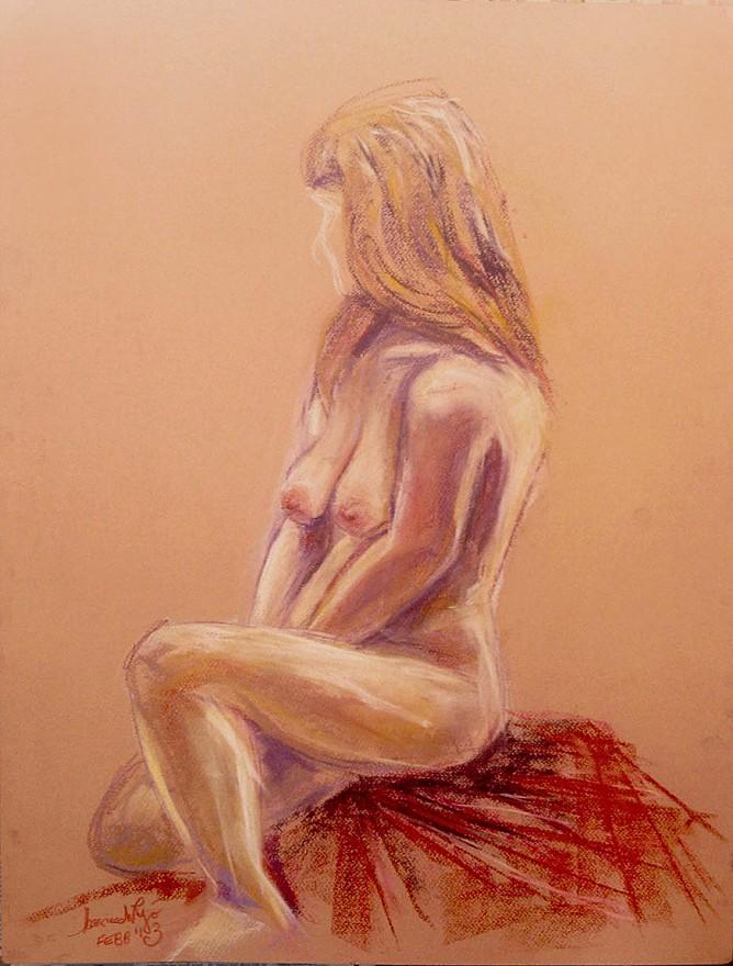 Studio modella seduta. Conté crayon su cartoncino (2013)