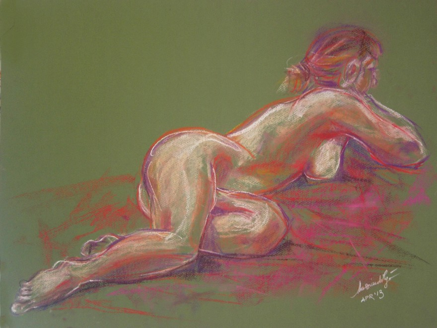 Studi torsione figura. Conté crayon su cartoncino (2013)