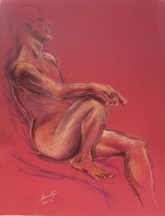 Studio figura maschile. Conté crayon su cartoncino (2013)