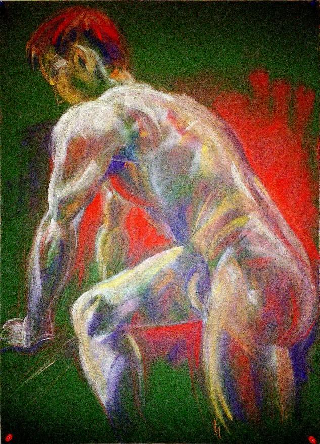 Studio figura maschile. Pan pastel colors su cartoncino (2016)