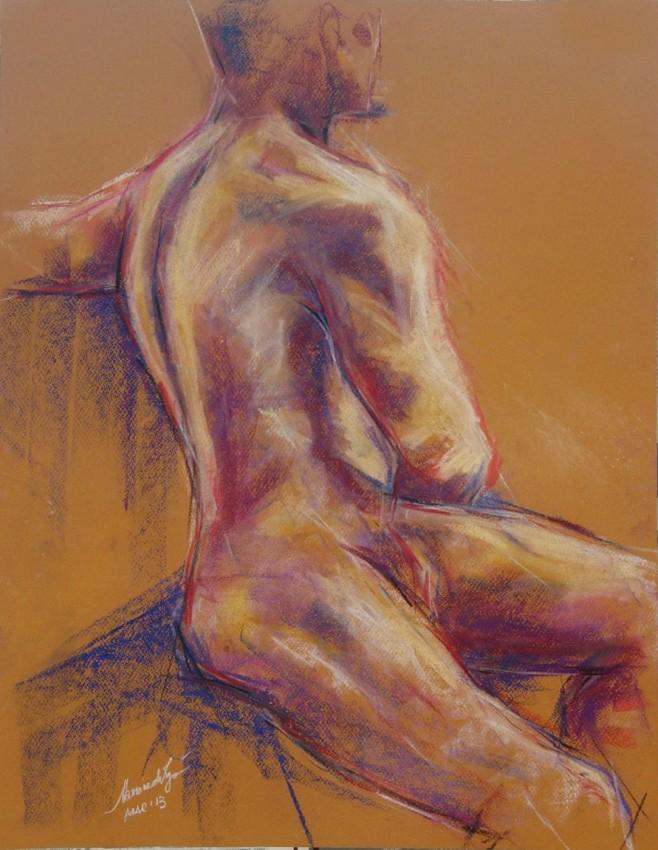 Figura virile. Conté crayon su cartoncino (2013)