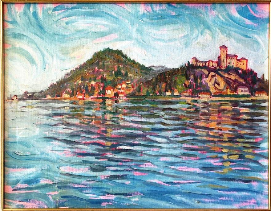 Il Lago Maggiore ad Angera. Olio su tavola di legno (1996)