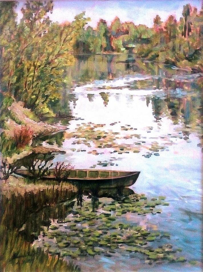Autunno in una lanca del Ticino. Olio su tavola di legno (1979)