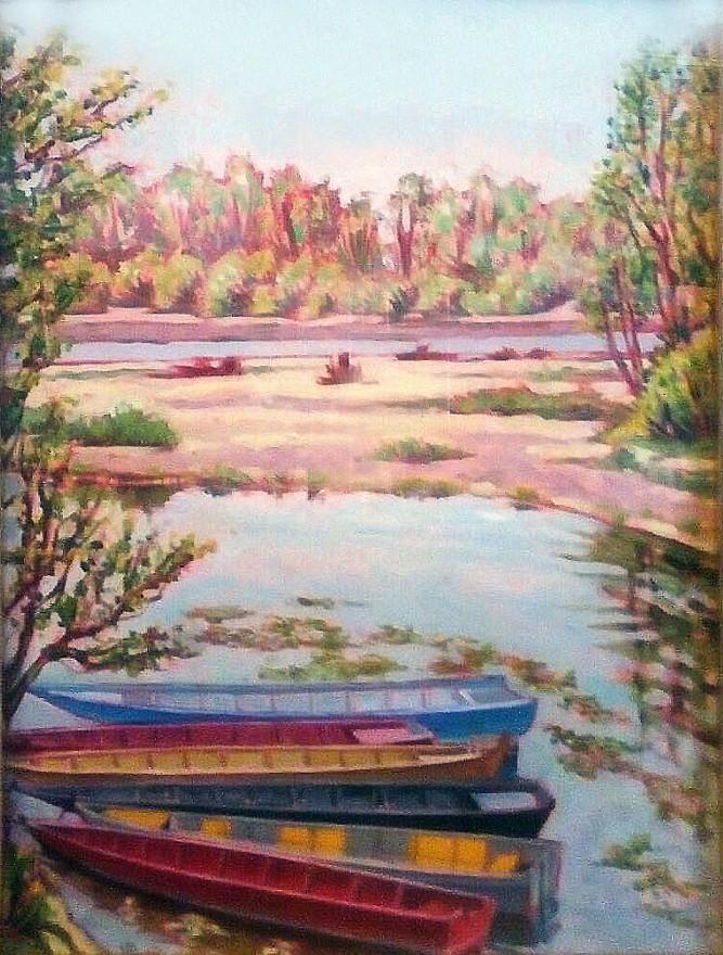 Barche sul Ticino. Olio su tavola (1988)