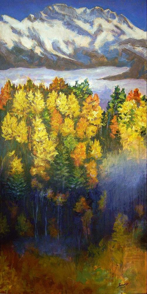 Il bosco in autunno e la Presolana. Acrilico su tela (2011)