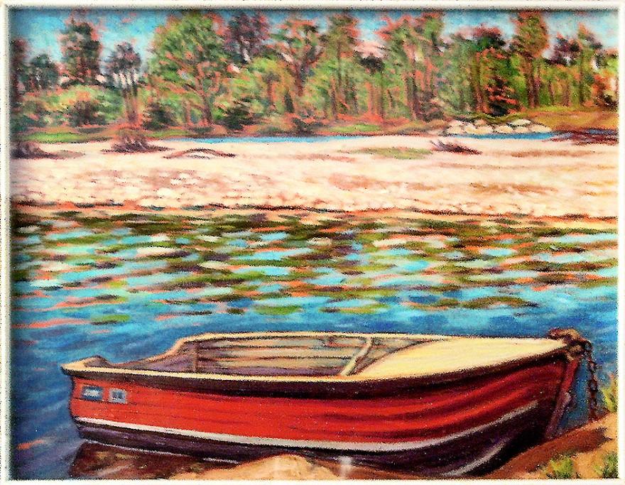 La barca sul Ticino. Olio su tavola di legno (1988)