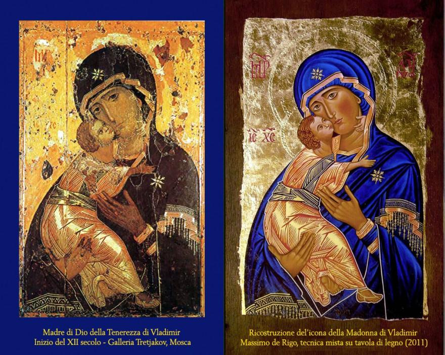 Madre di Dio della Tenerezza di Vladimir. Originale XII sec. e copia 2011
