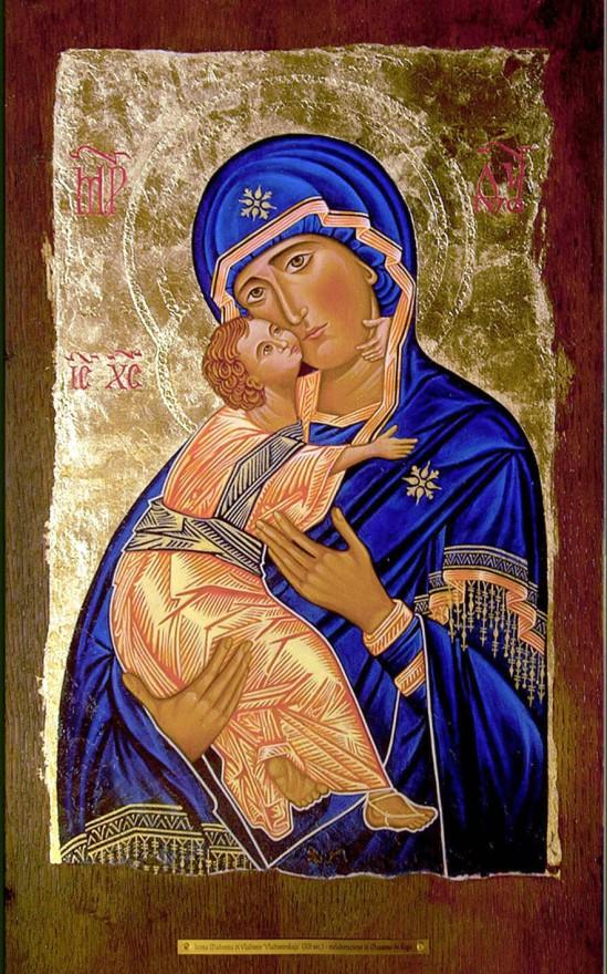 Ricostruzione del'icona della Madonna di Vladimir (Vladimirskaja) XII sec. Tecnica mista su tavola di legno (2011)