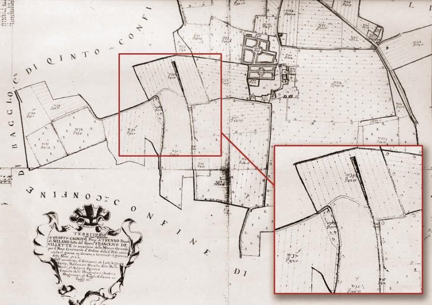 Cartografia Catasto Teresiano (1722) inerente il sentiero del Marcionino