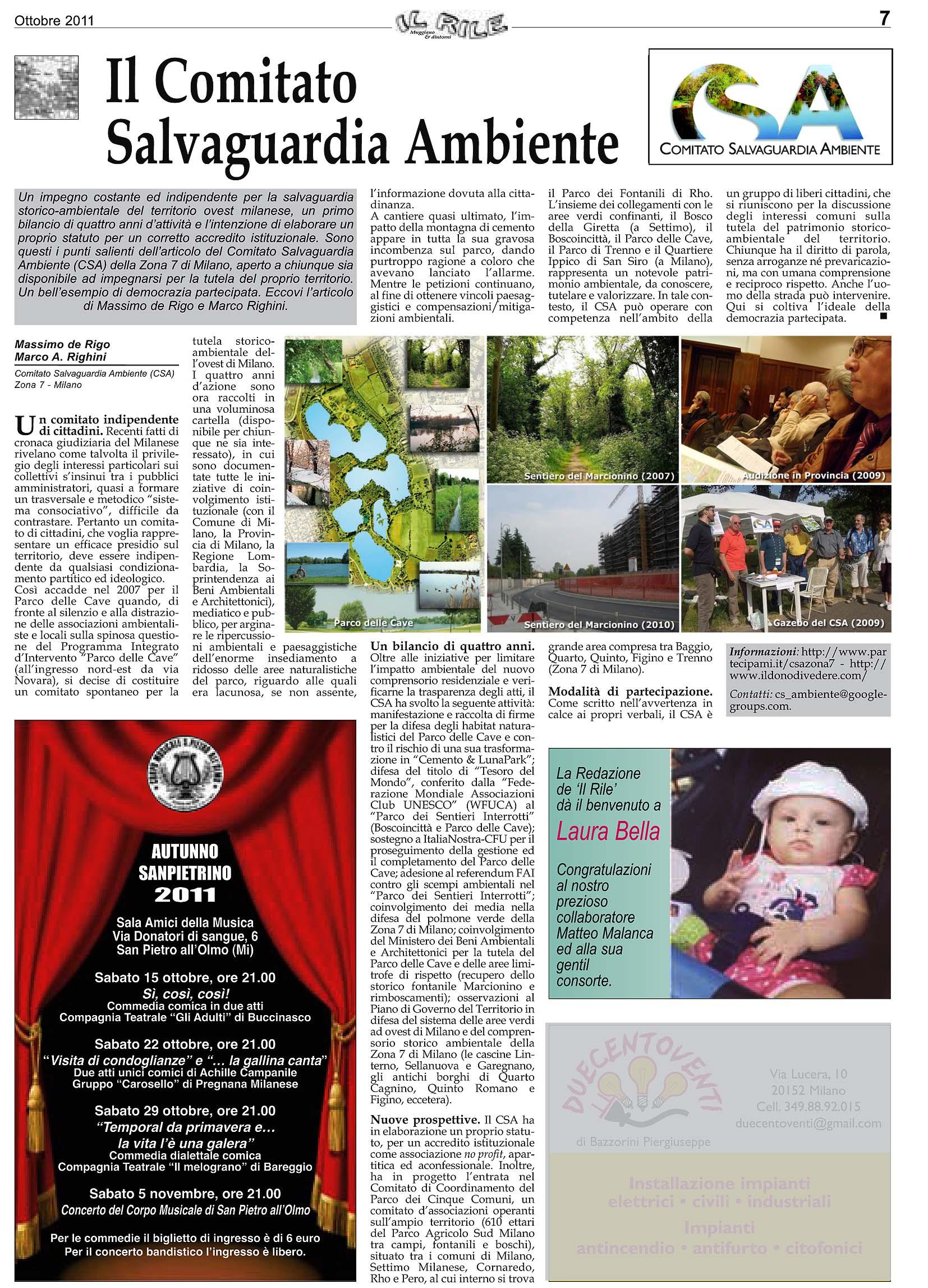 Il Rile ottobre 2011 pagina CSA
