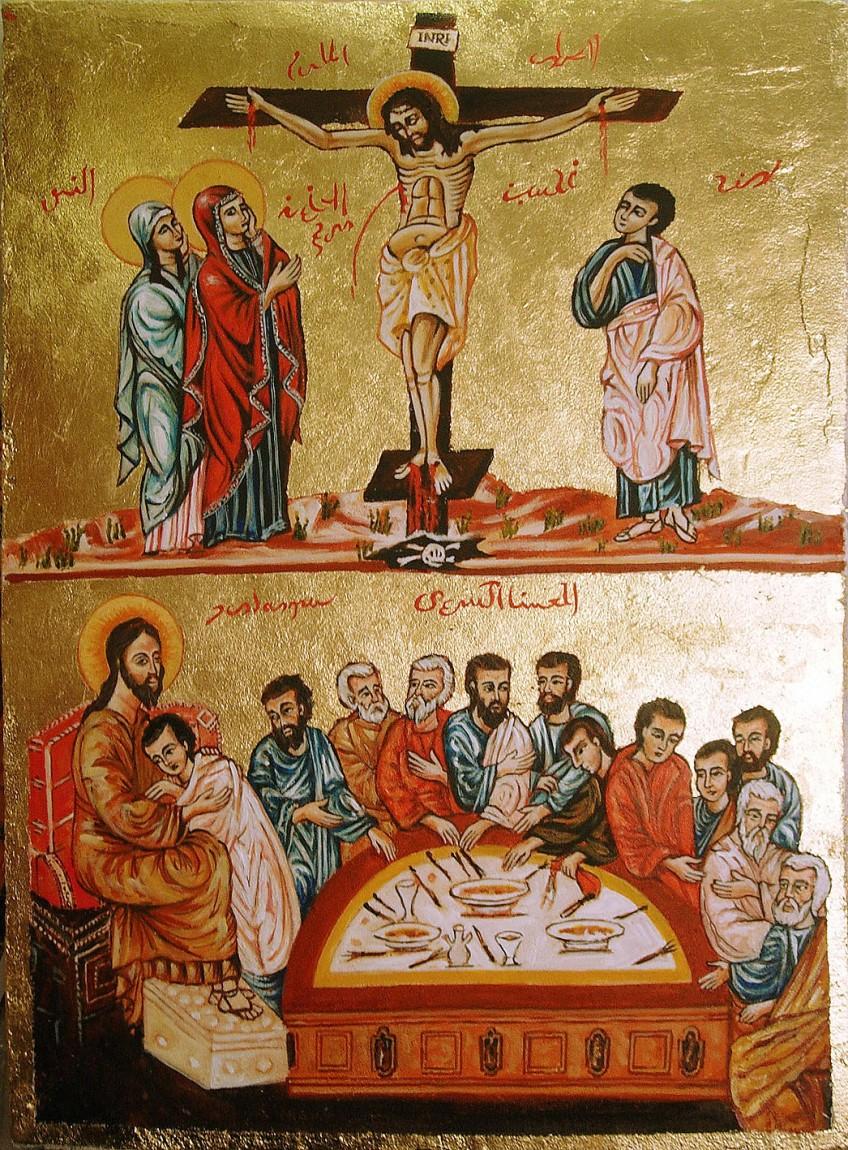La Crocifissione e la Cena Misteriosa. Affresco su pannello truciolare intonacato (2013)