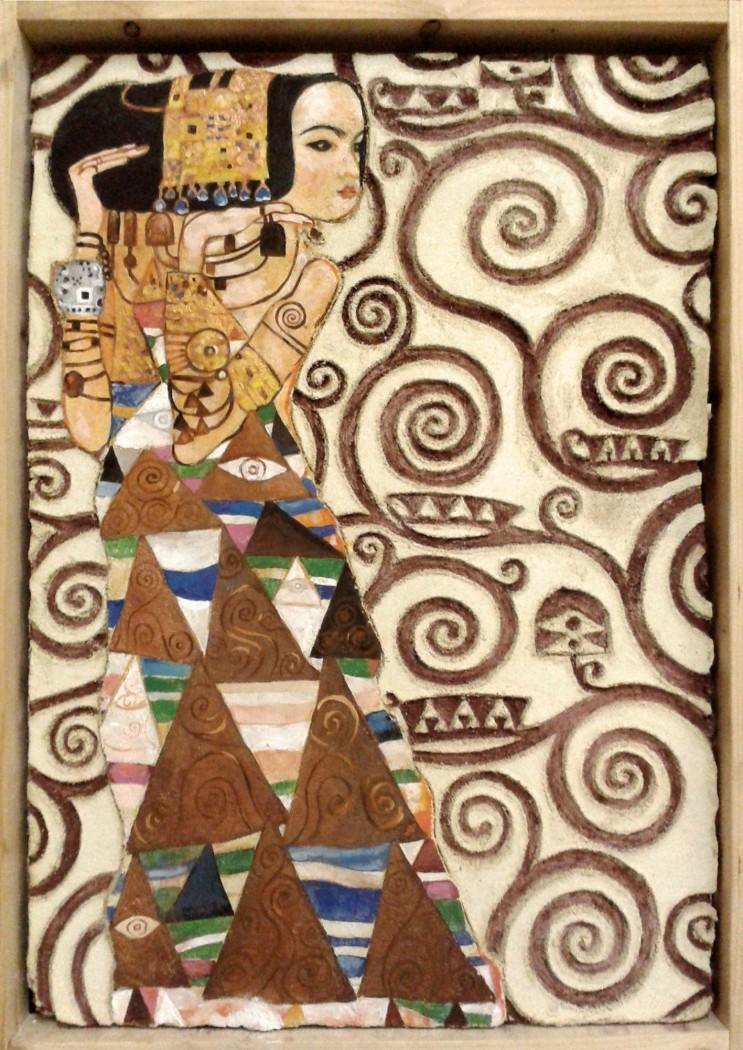 Graffito ispirato all'Albero della Vita di Gustav Klimt. Tecniche miste (2015)