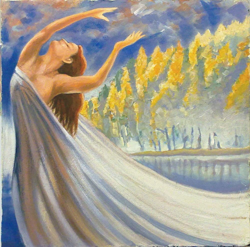 La Dama del lago. Affresco su pannello truciolare intonacato (2012)