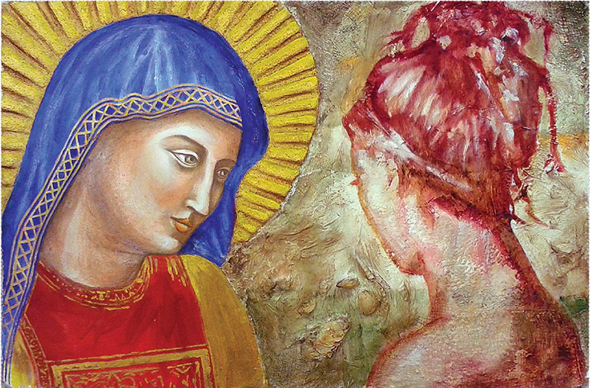 Maria, madre di Dio e rifugio. Affresco e tecniche miste su malta (2017)Maria, madre di Dio e dell'umanità. Affresco e tecniche miste su malta (2017)