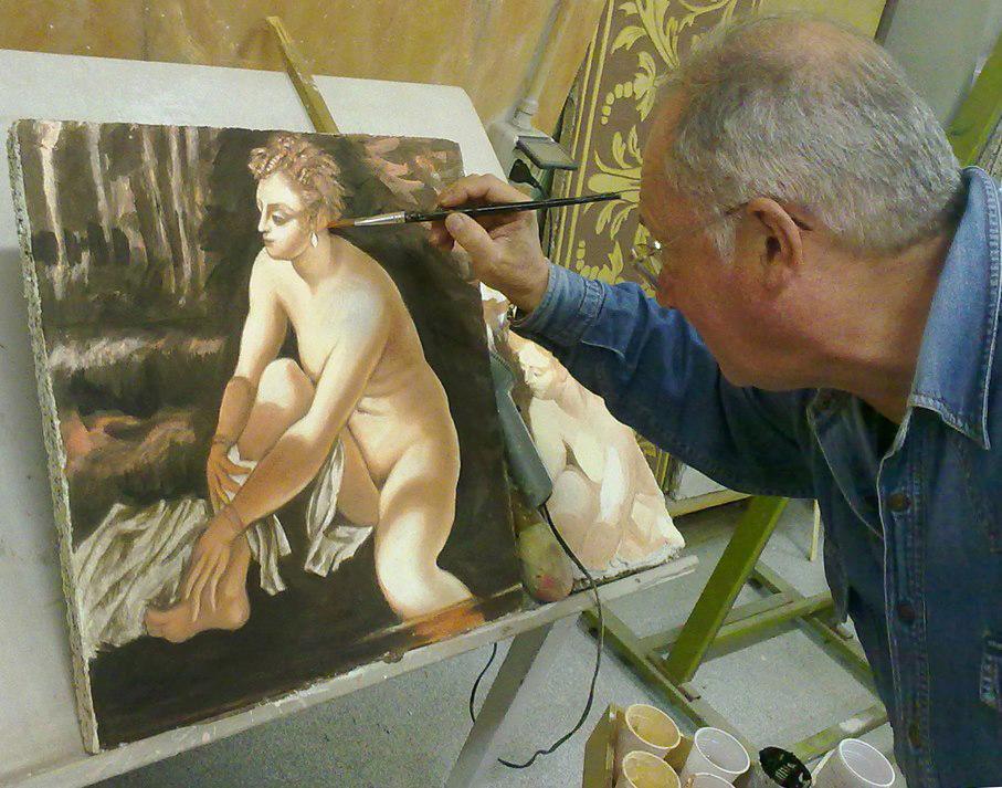 Fase finale affresco Arianna. Copia del Tintoretto (2012)