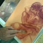 Triumphus Cupidinis, preparazione. Pittura materica su tela (2016)