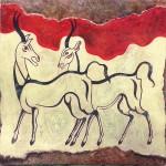 Antilopi, tecnica mista pittura materica (2017)