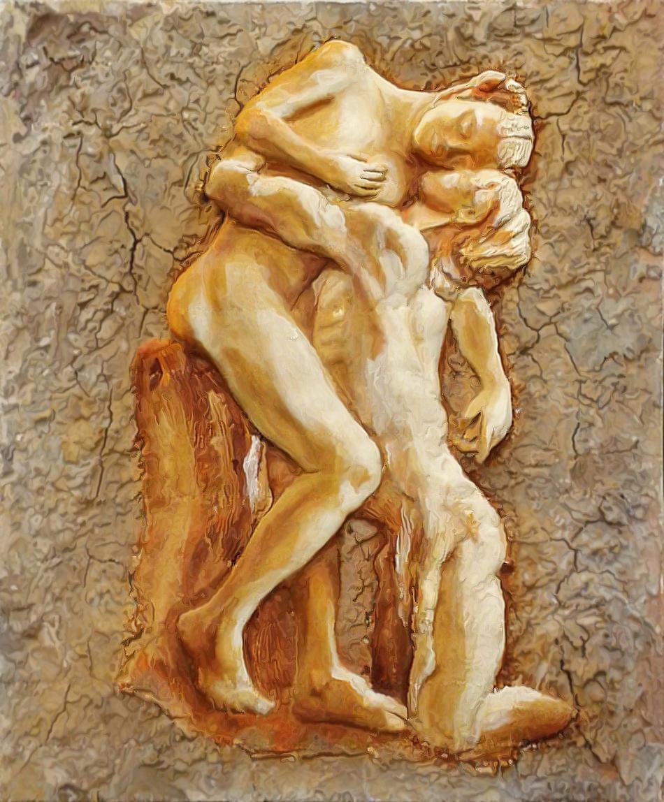 Bassorilievo dipinto 'Vertumnus e Pomona'. Tecniche miste (2016)