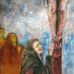 Maria Maddalena ai piedi della Croce, tecnica mista pittura materica (2017)