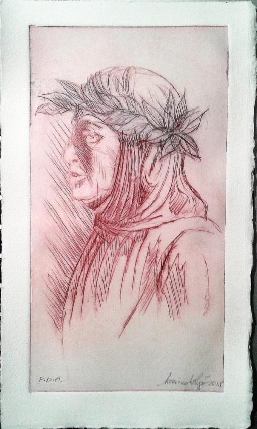 Francesco Petrarca. Puntasecca su Plexiglas (2018)