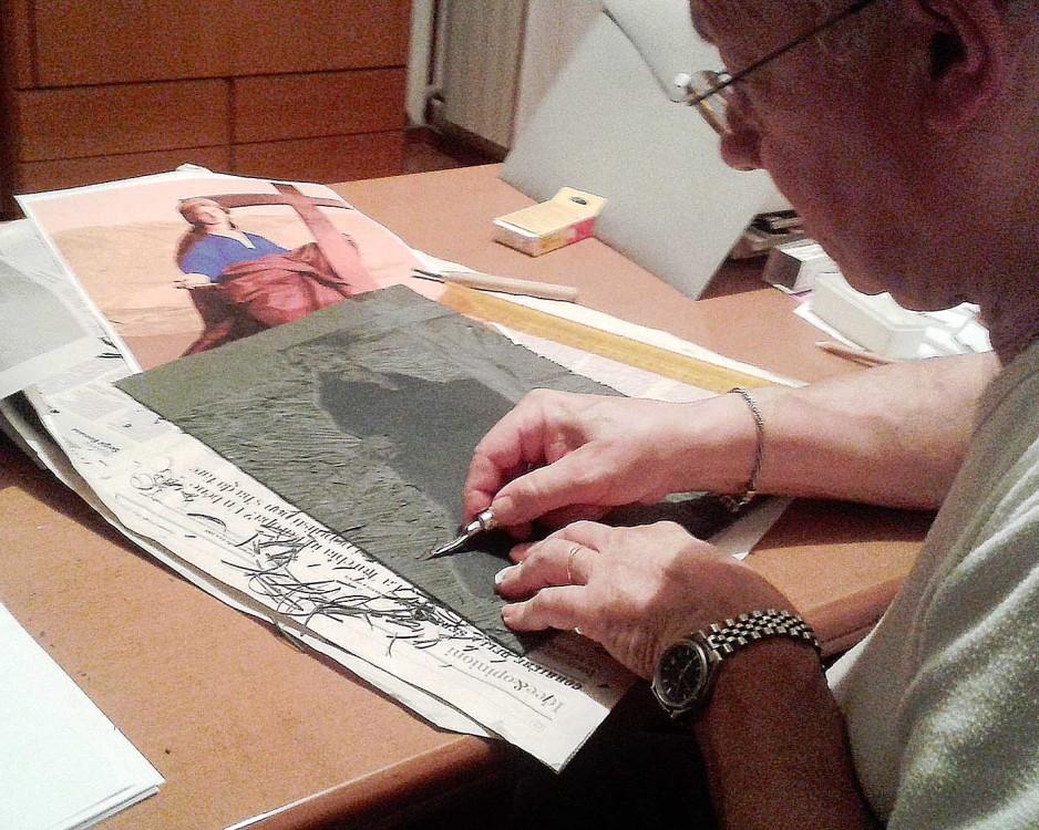 Sant'Elena, linoleografia. Preparazione della matrice in rilievo (2018)
