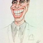 Disegno umoristico di Adriano Celentano. Pastelli (1988)