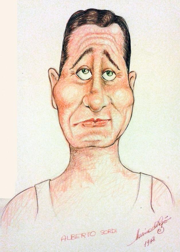 Disegno umoristico di Alberto Sordi. Pastelli (1988)