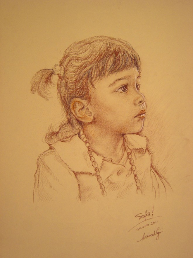 Ritratto della piccola Sofia. Pastelli (2011)