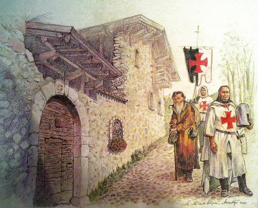 Cerete Alto, sulla via dei pellegrini. Disegno (2011)