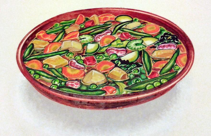 Zuppa di verdura, layout visivo pubblicitario. Pennarelli (1988)
