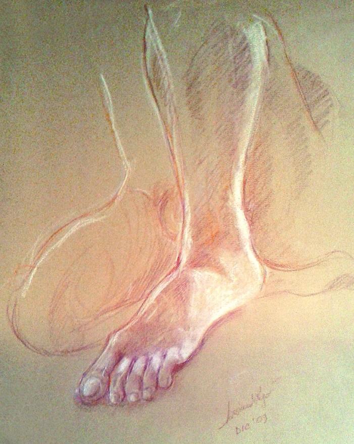 Studio di piede. Pastelli (2019)